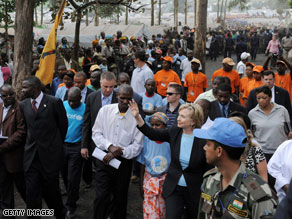 Secretary of State Hillary Clinton was in Cape Verde on Friday, the final stop on her seven-nation Africa tour.