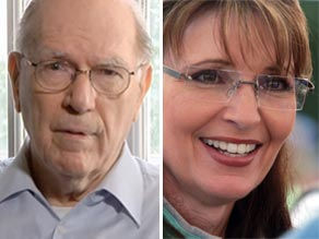 Lyndon LaRouche (L) and Sarah Palin (R). Photos: Larouchepac.com/Getty Images