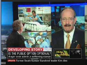 Rep. Eliot Engel told Wolf Blitzer on Tuesday that he believes it would be a 'terrible miscalculation' to pass health care reform without a public option.