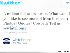 White House&#039;s official Twitter account garnered its millionth Twitter follower Sunday.