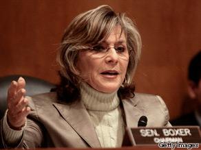 Sen. Barbara Boxer (D-CA) on Capitol Hill April 2, 2008 in Washington, DC.