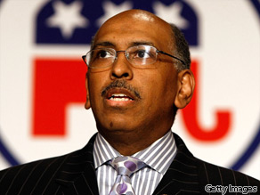 RNC Chairman Michael Steele addresses a meeting of state party chairmen May 20, 2009 in Baltimore, Maryland.