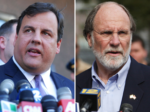 Republican Chris Christie, left, criticized Gov. Jon Corzine over his handling over the state economy.