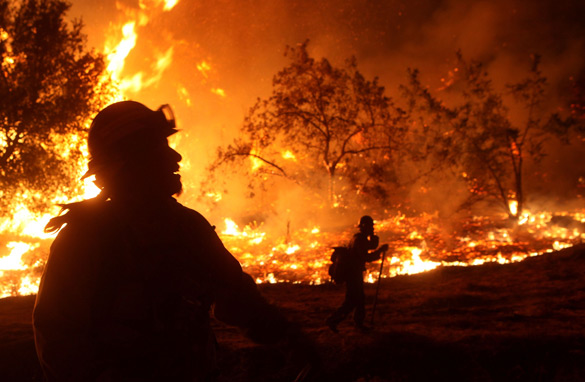 U.S. Forest Service firefighters monitor a back fire August 31, 2009 in La Crescenta, California.  (Getty Images)