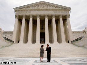 Justice Sonia Sotomayor was welcomed to the Supreme Court by her new colleagues in a brief special ceremony Tuesday in the ornate courtroom.