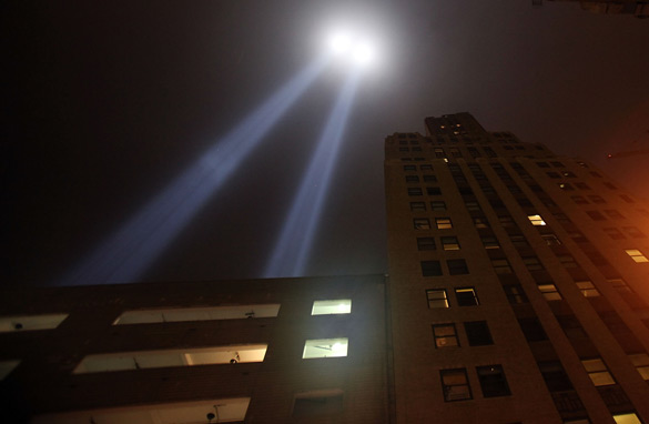 The 'Tribute in Light' is seen near the World Trade Center site September 10, 2009 in New York City. (Getty Images)