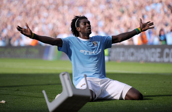 Adebayor's celebrations prompted Arsenal fans to pelt him with objects, including a plastic chair.