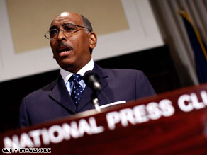 Michael Steele admonished Democratic critics Wednesday on CNN.