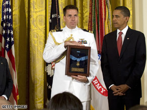 President Barack Obama awarded the Medal of Honor Thursday to the family of an Army sergeant who died as a result of his heroic actions in Afghanistan.