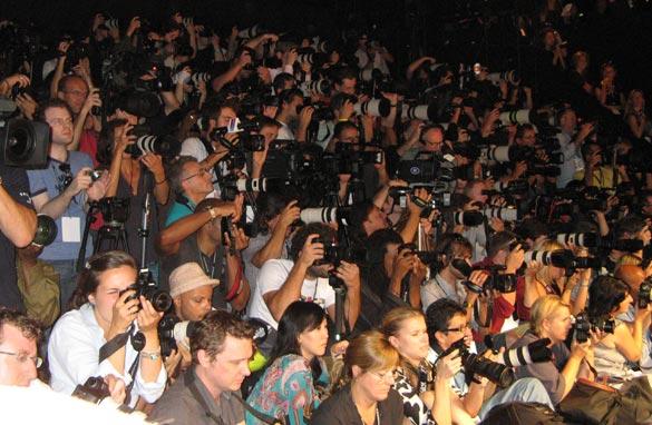 Photojournalists at the Diane von Furstenberg show.