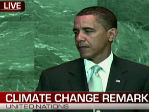 President Barack Obama warned Tuesday that the global economic recession could hinder the ability of countries to take necessary steps to combat climate change.