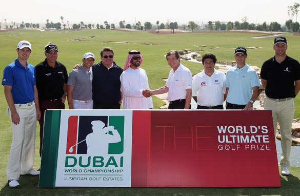 European tour players, Justin Rose, Darren Clarke, Srgio Garcia and Martin Kaymer with Leisurecorp sponsorship at the race to Dubai launch.