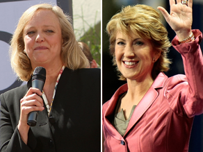 Meg Whitman, left, and Carly Fiorina lost in a straw poll conducted by rivals at the California GOP convention.