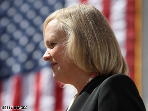 A new poll indicates that Meg Whitman has a large lead over her remaining Republican opponent in the battle for California's GOP gubernatorial nomination.