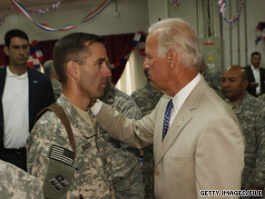 The vice president visited with his son Beau during a visit to Iraq on July 4 of this year.