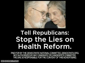 National Democrats new TV ad is aimed at trying to convince senior citizens that Republicans are perpetuating falsehoods about President Obama&#039;s efforts to reform health care.