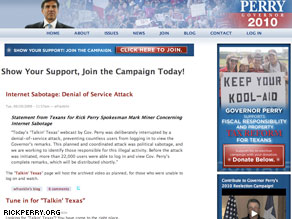 The Perry&#039;s campaign Web site that was hacked earlier today.