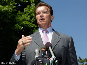 One of the Republicans hoping to succeed California Gov. Arnold Schwarzenegger next year is claiming that the governor violated the state constitution