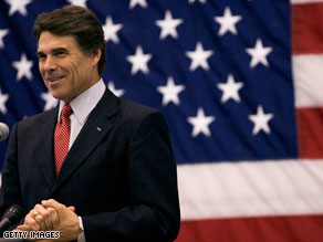 Texas Gov. Rick Perry is running for a third term but faces two Republican opponents.