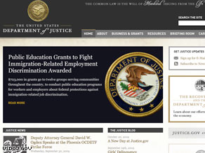 The re-design of the Justice Department Web site.