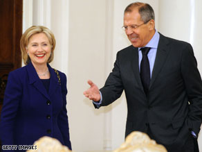 Clinton and Russian Foreign Minister Sergey Lavrov agree to work together on Iran.