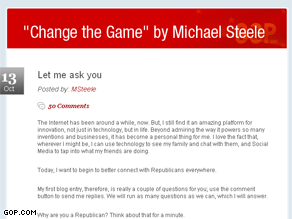 The RNC has apparently changed the name of Michael Steele's blog.