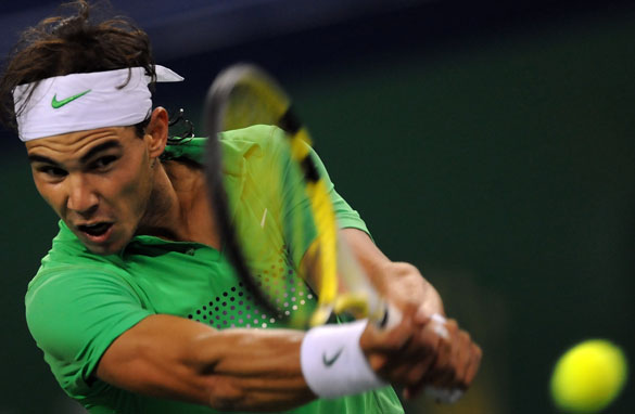 Rafael Nadal in action at the Shanghai Masters.