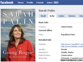 Palin reveled details of her book tour on Facebook.