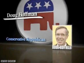 Conservative Club for Growth, which is backing third-party candidate Doug Hoffman, calls Republican Dede Scozzafava and Democrat Bill Owens 'two liberals'.