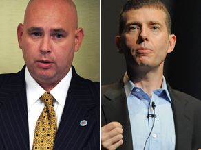 Steve Schmidt, left, and David Plouffe are teaming up at the University Delaware.