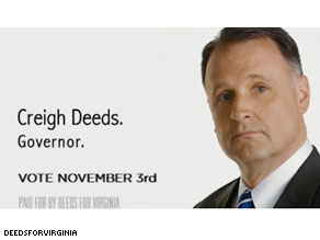 Democratic gubernatorial candidate Creigh Deeds is playing up his support from President Obama.