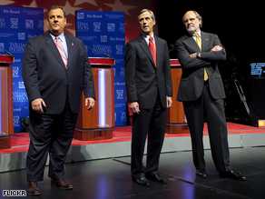 Republican Chris Christie and Independent Chris Daggett trail Gov. Jon Corzine, a new poll suggests.