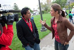 Jillian Michaels and Dr. Sanjay Gupta at a Fit Nation event in St. Paul, MN