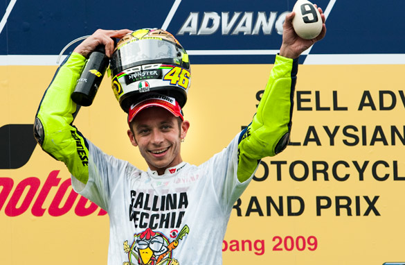 Rossi celebrates completing the ninth world title victory of his career.