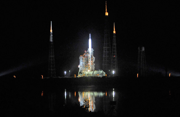 NASA's new Ares test vehicle is ready on its launch platform at Kennedy Space Center in Florida. (Getty Images)