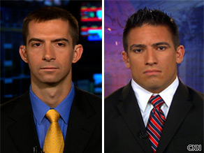 Veterans Thomas Cotton and Jake Diliberto debate opposite sides of the troop surge divide.