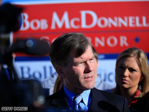 Republican Bob McDonnell captured the Virginia governor's mansion back from Democrats earlier this month.