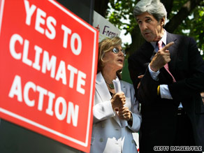 A climate change billl co-authored by Sens. Boxer and Kerry was approved by a Senate committee Thursday despite a Republican boycott of the committee's hearings.