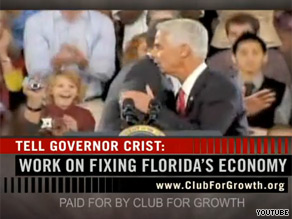 The Club For Growth is taking aim at Crist in a new ad.