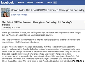 Palin is again saying the new health care bill will establish &#039;death panels.&#039;