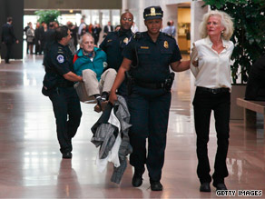 Protesters were arrested trying to occupy Sen. Lieberman&#039;s office Tuesdayon Capitol Hill.