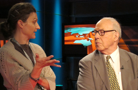 Former U.N. weapons inspector Hans Blix with Amanpour booker Gabrielle, during a commercial break