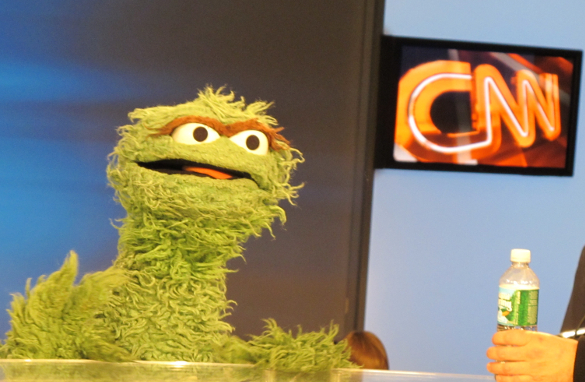 Oscar the Grouch, sitting on the Amanpour set - part of the 40 year celebration of 'Sesame Street'‎