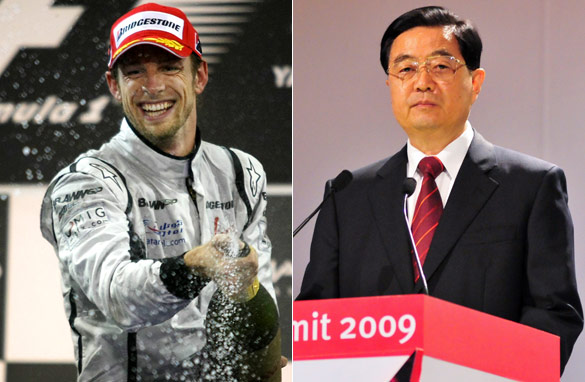What links Jenson Button to Hu Jintao?( Photos: AFP/GETTY IMAGES