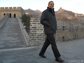 Obama toured China&#039;s Great Wall Tuesday before heading to South Korea.