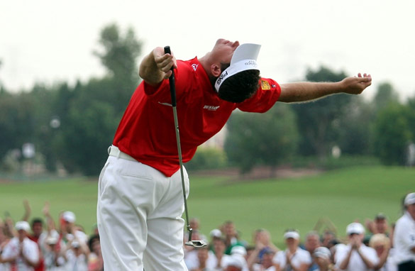 Westwood celebrates with suitable body language after a tour-de-force of intimidation at the Dubai Championship.