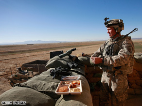 A U.S. soldier celebrates Thanksgiving in Afghanistan.
