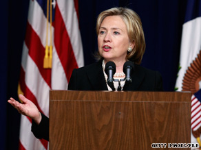 Secretary of State Hillary Clinton laid out the Obama administration's plans for a new push for Mideast peace talks.