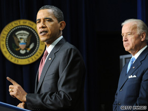 The vice president looked on as the president spoke about jobs Thursday.