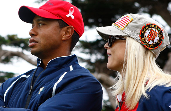 Tiger Woods and wife Elin in happier times.